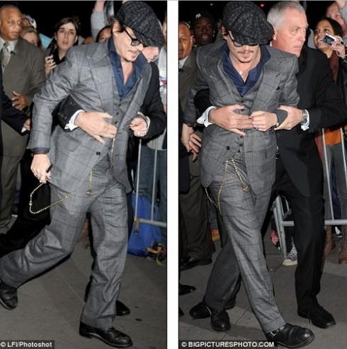 Джонни Депп под надежной охраной на премьере в Нью-Йорке