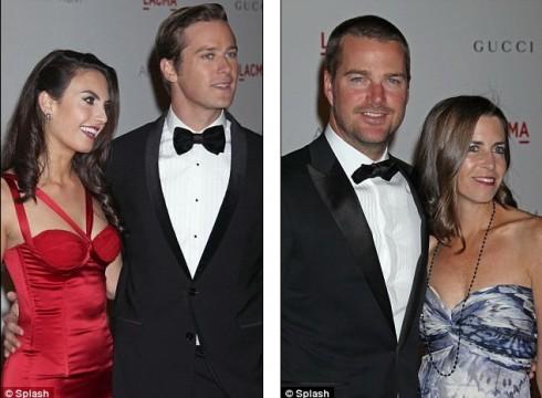 Актер Арми Хаммер с супругой телеведущей Элизабет Чамберс и актер Крис О'Доннелл с супругой Каролиной