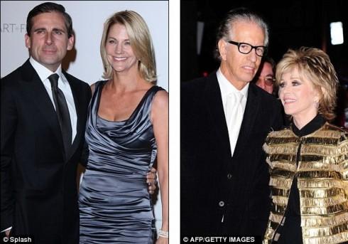 Стив Карелл с супругой Ненси Волс и Джейн Фонда с партнером Ричардом Перри